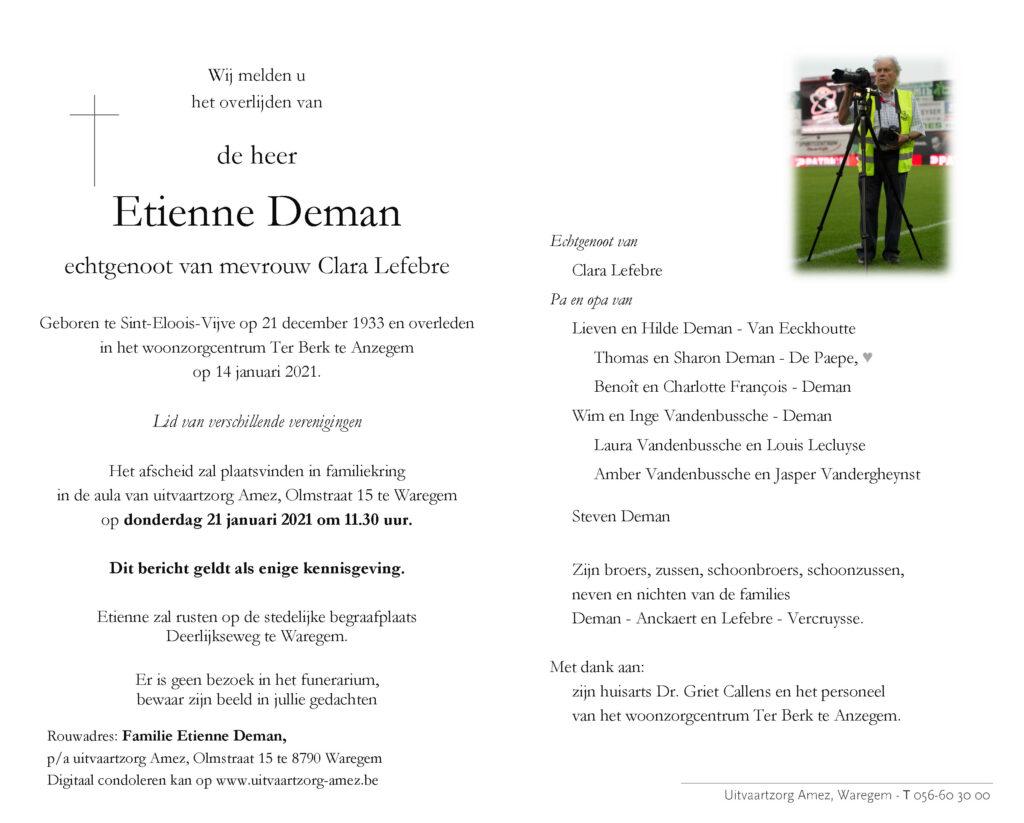 Rouwbericht Etienne Deman